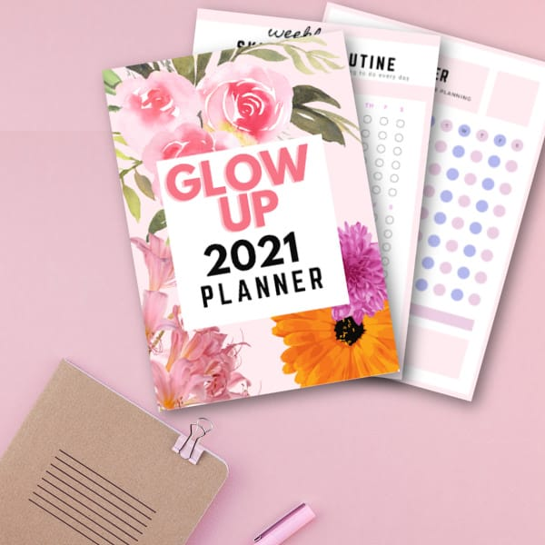 Glow up planner, glow up ideas, glow up challenge, habit tracker, skincare routine tracker 2021