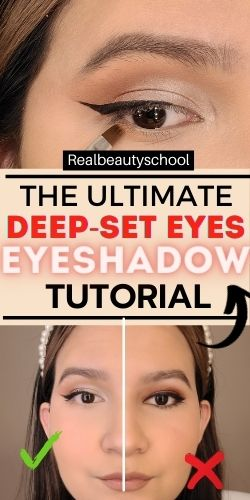 Deep set eyes step by step tutorial for beginners, how to apply eyeshadwow for deep set hooded eyelids