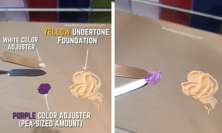 How to fix yellow undertone foundation with violet color adjuster