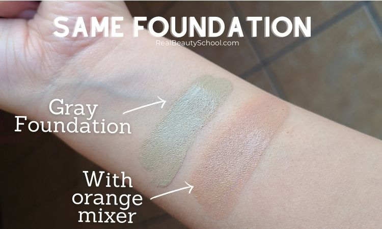 How to fix gray foundation, how to use orange color adjuster on foundation to fix gray foundation