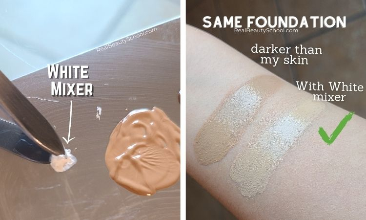 How to fix foundation that is too dark and how to fix foundation darker than my skin, how to lighter foundation with white mixers