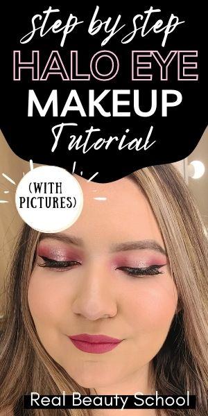Halo eyeshadow tutorial, easy halo eye makeup tutorial, halo eyeshadow tutorial step by step with pictures
