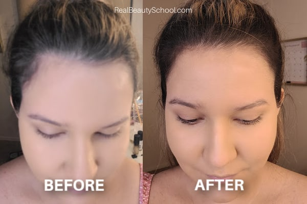 Makeup on your hairline, how to get smaller forehead