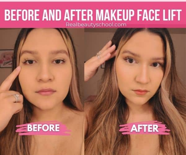 BEFORE AND AFTER FACE LIFTH WITH MAKEUP