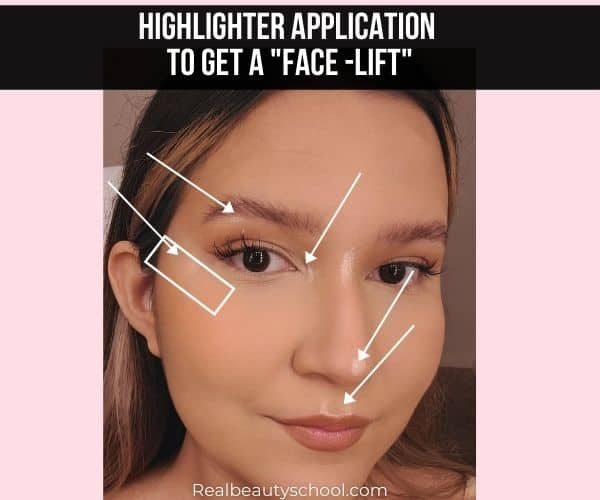 Highlighter application to fake a face lift