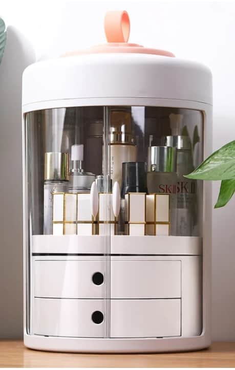 white makeup storage and drawer organizer