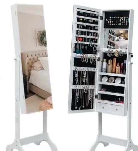 makeup storage vanity mirror with LED lights