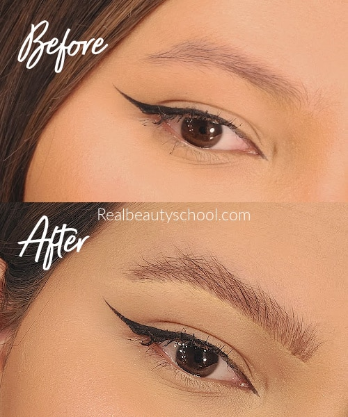 fluffy eyebrows tutorial before and after